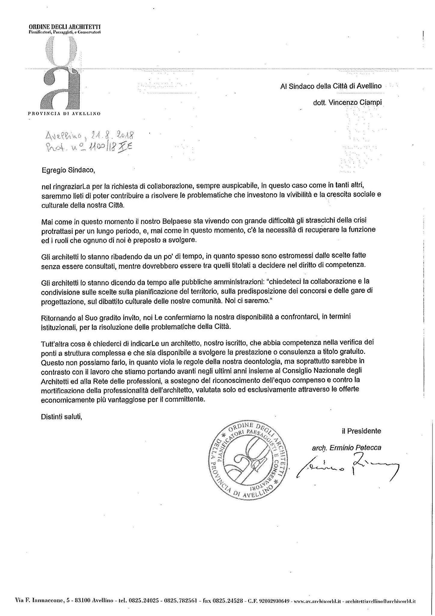 Controlli sul Ponte a titolo gratuito: il sindaco di Avellino cerca un tecnico – Gratis –risposta architetti